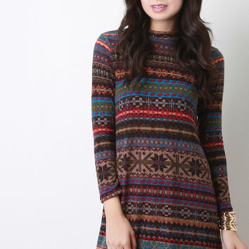 Fair Isle Knit Mock Neck Mini Dress