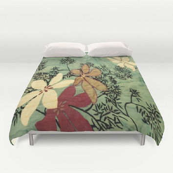 Chambray Floral Duvet Cover Japanese Art Duvet Cover Digital Print Floral Duvet Cover White Floral Black Branches Duvet Cover Large Colorful