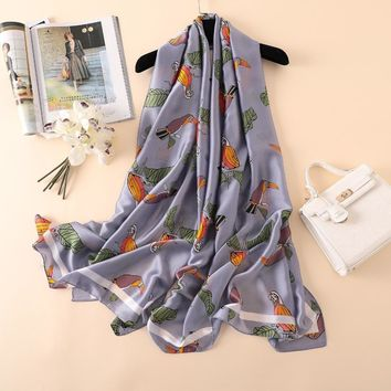 New Women Silk Scarf Chiffon parrot Print Large Shawl Elegant Foulard scarves Female Floral Summer Bandana wrap