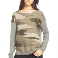 Women's Joie 'Eloisa' Camo Boatneck Drop Shoulder Sweater,