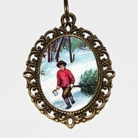 Christmas Tree Boy Necklace, Holiday Jewelry, Christmas Tree, Christmas Jewelry, Oval Pendant
