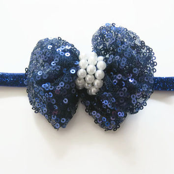 Girls blue glitter sequin bow headband -baby headband,toddler headband, headband,newborn photo prop, baby headband, party headband,UK seller