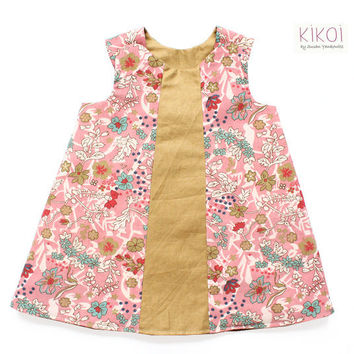 Toddler dress pattern pdf - Baby reversible dress tutorial - EASY - sizes 3mths to 6 years