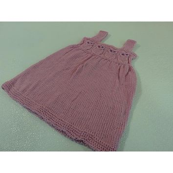 Handcrafted Knitted Baby Jumper Cotton Candy Pink 100% Merino Wool 9-12 months -- New No Tags