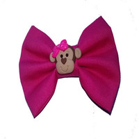 Girls pink fabric hair bow with monkey clay center - Toddler cute accessories - polymer clay center - photo prop - back to school bows