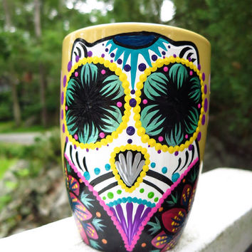 Hand Painted Sugar Skull Owl and Cherry Blossom Mug