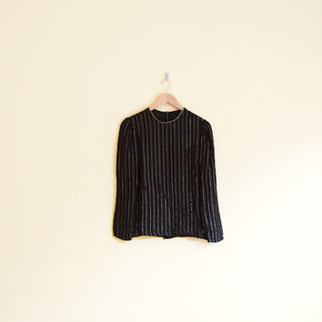 Vintage 70s Sparkly Striped Shirt - 70s Shirt Disco Shirt Sheer Blouse Striped Blouse Black and Gold Shirt 70s Boho Blouse 70s Disco Blouse