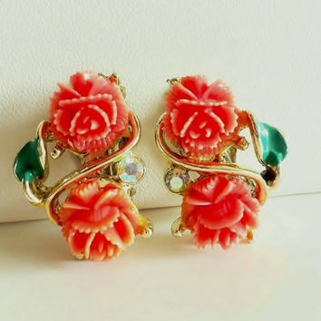 Vintage Rose Earrings, Coral Orange, Celluloid Flowers, Carved Roses, Gold and Orange, Clip On, Flower Earrings