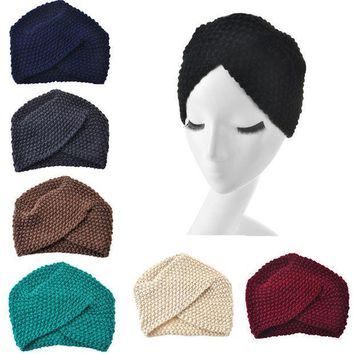 PEAP9IW 2017 New Fashion Ladies Winter Warm Turban Soft Knit Beanie Crochet Headwrap Women Hat Cap Hairband