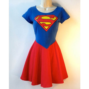 Superman Dress Supergirl Dress  Rockabilly Pin Up Girl Dress Superhero Halloween Costume [9221632964]