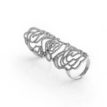 Long Ring With Pave Swirl Diamonds Design