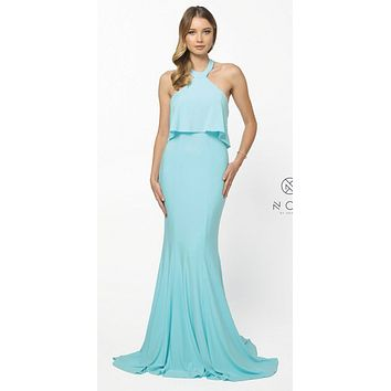 Halter Ruffled Long Prom Dress Open Back with Train Aqua