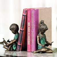 SPI Bronze and Brass Boy and Girl Bookends