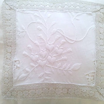 Shabby chic pillow, White decorative pillow, white linen and lace, white pillow, linen and lace, europeanstreetteam, etsy uk