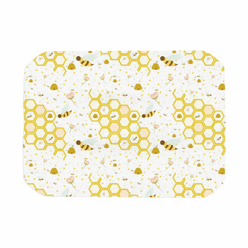 "Stephanie Vaeth ""Honey Bees"" White Yellow Place Mat"