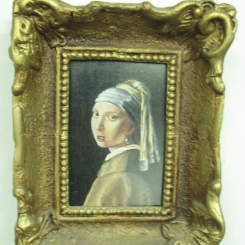 Girl with a Pearl Earring Vermeer copy Oil Painting on hard paper Wood Frame Original and Signed