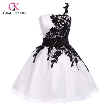 Grace Karin One shoulder puffy Lace Short Prom Dresses 2016 White Black Blue Yellow Organza sexy Evening prom Gowns 4288