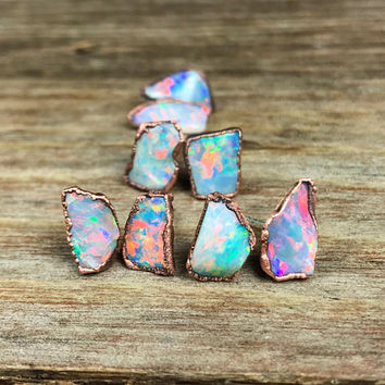 Raw opal earrings / Opal stud earrings / Australian opal earrings / Genuine opal earrings / October birthstone / gift for her / for wife