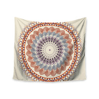 "Famenxt ""Vintage Mandala"" Yellow Multicolor Wall Tapestry"