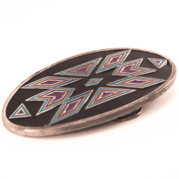 Vintage Southwestern Belt Buckle Native American Geometric Design