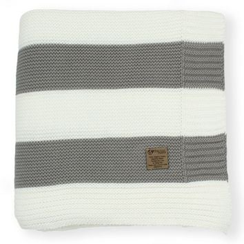 Slate Grey & Cream Stripe Knit Organic Cotton Blanket