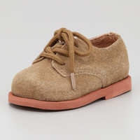 Morgan Suede Lace-Up Infant Shoe, Tan