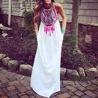 Geometric Print Sleeveless Chiffon Maxi Dress