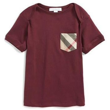 Infant Boy's Burberry 'Callum' Check Print Chest Pocket T-Shirt,