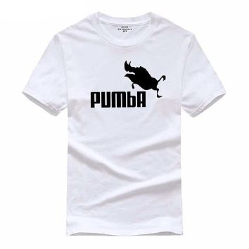 2018 funny tee cute t shirts homme Pumba men short sleeves cotton tops cool tshirt lovely kawaii summer jersey costume t-shirt
