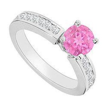 14K White Gold : Pink Sapphire and Diamond Engagement Ring 0.80 CT TGW
