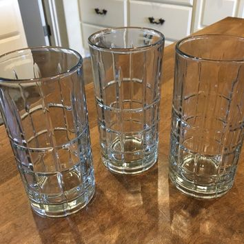 SET OF 3 - Vintage Anchor Hocking Tartan Plaid Clear Highball Rocks Glasses EUC
