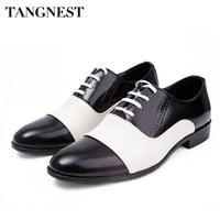 Tangnest Men Shoes 2017 Fashion PU Patent Leather Men Dress Shoes White Black Pointed Toe Wedding Oxford Shoes Size 38-44 XMP308