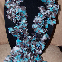 Turquoise Ruffle Scarf Spring Scarf Mother's Day Gift Spring Accessory Gift for Her