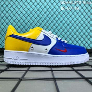 KUYOU N021 Nike Air Force 1 Mid Three-Color Stitching Small Hook Causal Skate Shoes Blue White Yellow