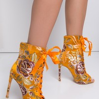 Embroidered Lace Up Open Front Peep Toe Stiletto Booties in Yellow, Red