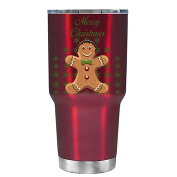 TREK Merry Christmas Gingerbread Man on Translucent Red 30 oz Tumbler Cup