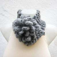 Removeable Brooch Pin -Cowl- Hand Knitted Neck Warmer  - Women  Winter  Accessories  Grey