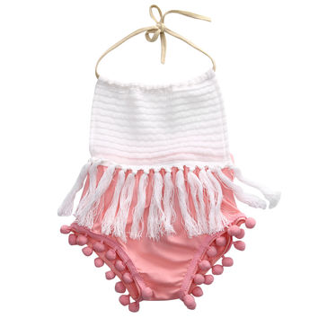 Newborn Toddler Baby Girls Sleeveless Tassels Strap Romper cotton halter backless Jumpsuit Outfit Clothes