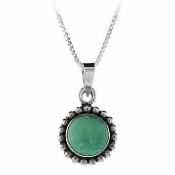 Sterling Silver Variscite Bali Beaded Circle Pendant
