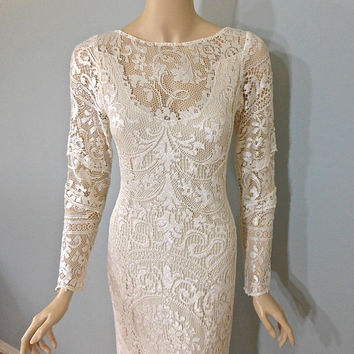 Silky Lace WEDDING Dress BOHEMIAN Wedding Dress FAIRY Wedding Dress Long Sleeve Lace Dress, Handmade, One of a Kind Sz Medium