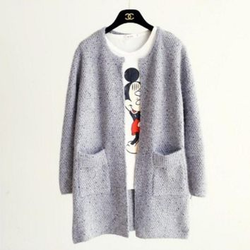 One-nice™ Fashion Women's Sweater Knit Cardigan Jacket Long Coat Light Grey