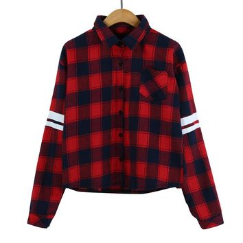 Fashion Streetwear Autumn Blouse Women Long Sleeve Red Plaid Striped Print Button Short Shirt Turn-down Collar Blouse Tops