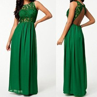 Green Patchwork Lace Cut Out Draped Round Neck Maxi Dress