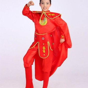 DCCKH6B red hua mulan costume for children warrior cosplay costume for girls red festival dance costumes for children chinese ancient
