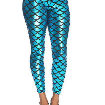 Metallic Blue Scallop Print Leggings