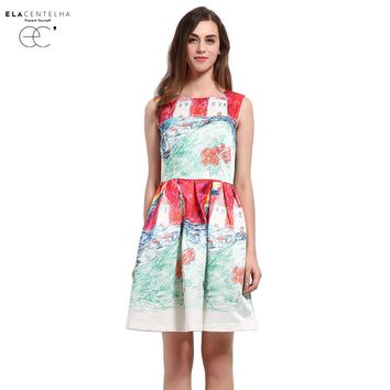 Women Summer Dress Novelty New Fashion Imitation Painting Innocent Printing Dress Woman Sundress Day Dresses