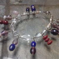 Clear Glass Bead Anklet with Purple, Pink and Maroon Glass Accents