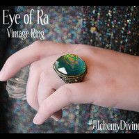 Vintage Ring, Peacock Stone, Crystal Ball, Bronze Filigree, Size 8 From Alchemy Divine