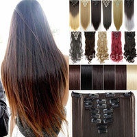 "USA SHIP 8Pcs/set 26"" 66CM Long Mega Straight Full head Clip in Hair Extensions Black Brown Blonde red"