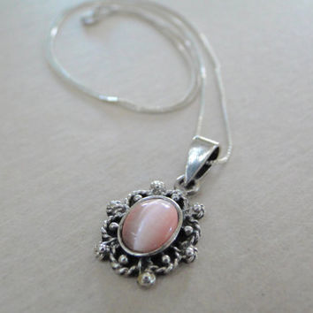 Pink Mother of Pearl Sterling Pendant Vintage Setting Sterling Necklace Signed Vintage Jewelry Sale